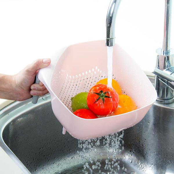 方形握把瀝水藍 大號 PlayByPlay,玩生活,居家,廚房,蔬果,清洗,洗菜,洗水果,瀝水