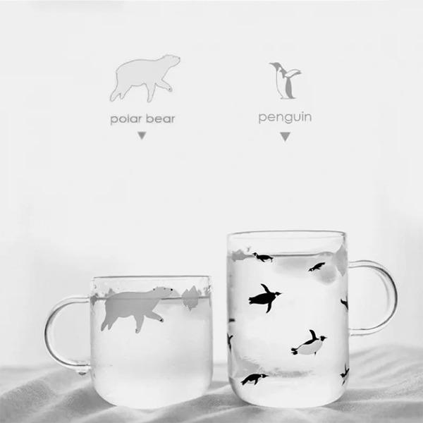 極地動物玻璃杯 PlayByPlay,玩生活,居家,玻璃杯,飲料,水,高硼硅玻璃,圓潤,簡約,生動圖案,企鵝,北極熊,清澈明亮,晶瑩剔透,適合各種飲品