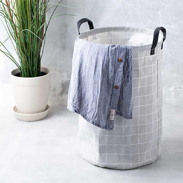 格紋帆布洗衣籃 PlayByPlay,玩生活,居家,浴室,臥室,格紋,收納,防水,洗衣籃