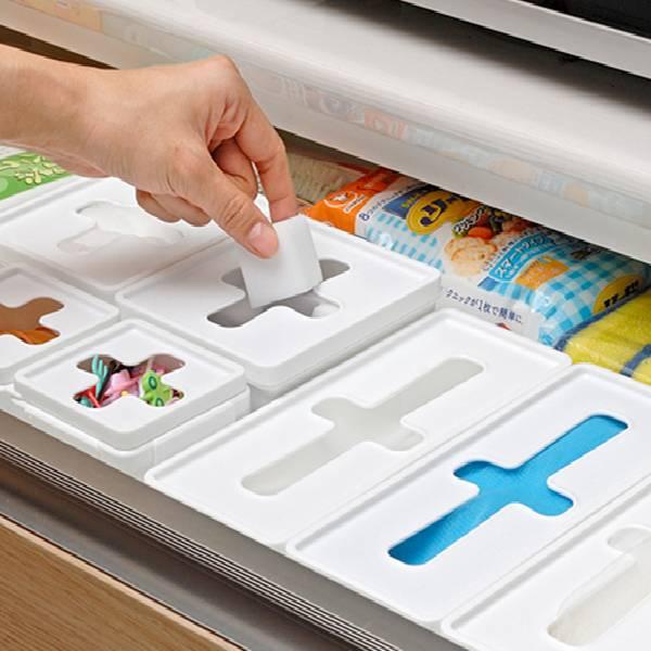 十字口收納盒長型 PlayByPlay,玩生活,居家,廚房,櫃子,收納,手套收納,保鮮袋,保鮮袋收納