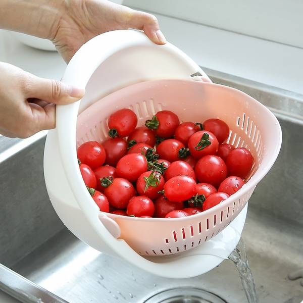 廚房蔬果瀝水籃 雙層設計,瀝水籃,盛水,拆卸,旋轉,洗菜,洗水果,洗米,方便