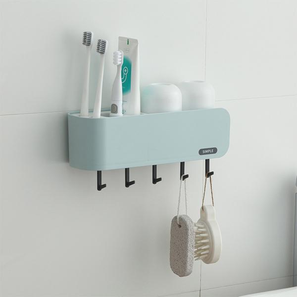 壁掛洗漱用具架 PlayByPlay,玩生活,居家,浴室,收納,置物架,洗漱用具,簡約時尚,附一組洗漱對杯,插槽,放置牙刷牙膏,掛勾,掛置毛巾刷具,可瀝水,通風透氣
