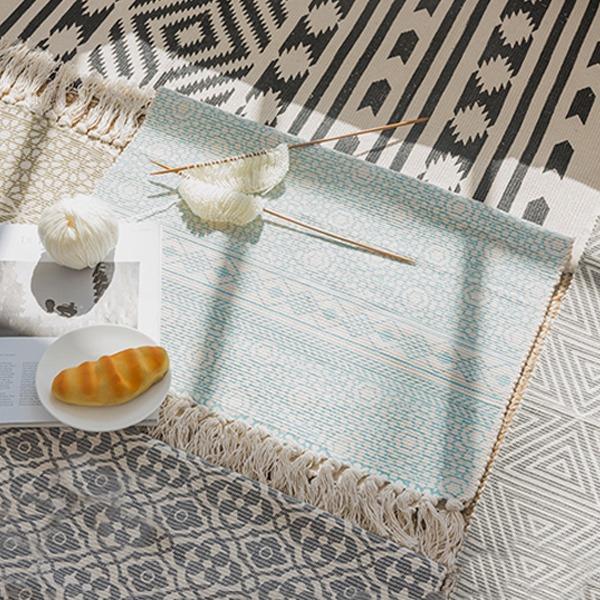 印度流蘇腳踏墊 PlayByPlay,玩生活,居家,客廳,餐廳,地墊,餐桌墊,掛毯,純棉,手工編織,舒適,民族風