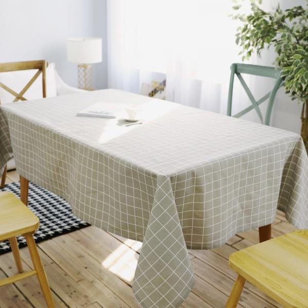 日系棉麻格子桌布(140x250) PlayByPlay,玩生活,日系,棉麻,格紋,桌布,灰色,雜貨