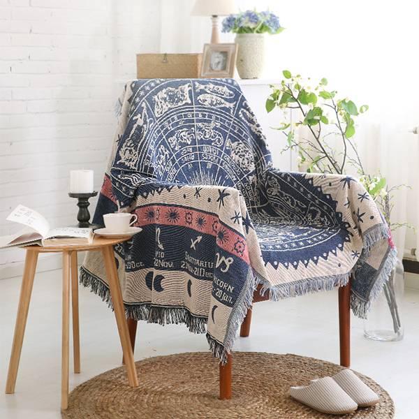 北歐星盤沙發毯(90x83) PlayByPlay,玩生活,居家,沙發毯,地毯,星空圖,環保印染,鮮豔,不褪色,優質混紡,手工,針織,舒適柔軟,用途廣泛