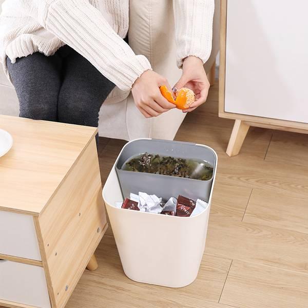 乾濕兩用垃圾桶 大號 居家,客廳,臥室,廚房,垃圾桶,環保PP,清新配色,雙層設計,乾濕分類,容量大,可拆式,好傾倒,底部加高,穩固,耐摔