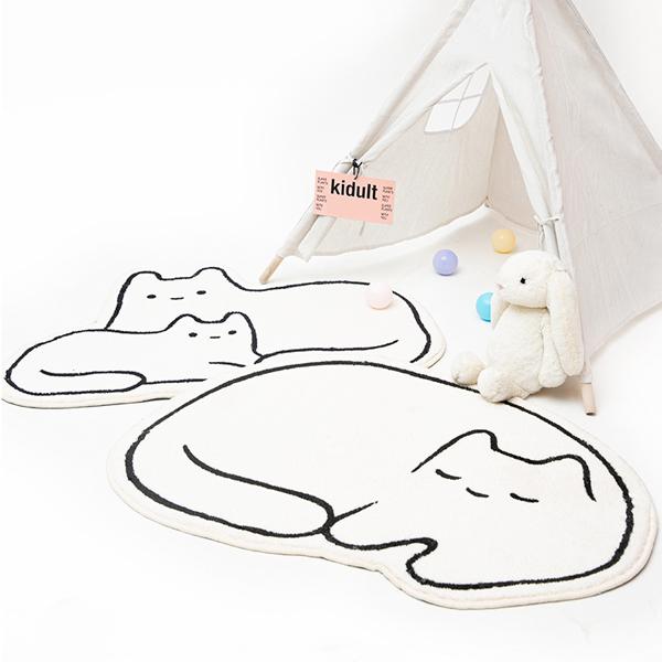 雪糕絨白貓地墊 PlayByPlay,玩生活,居家,臥室,浴室,玄關,地墊,踏墊,腳踏墊,吸水墊,地毯,貓,插畫風,雪糕絨,柔軟,舒適,防滑,止滑,純白