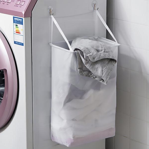 壁掛網布洗衣籃 PlayByPlay,玩生活,壁掛,髒衣籃,免釘,免掛,黏膠,掛鉤, 網面設計,透氣性,通風,乾燥,免釘安裝,收納