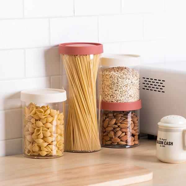 多彩密封儲物罐 大號 PlayByPlay,玩生活,居家,廚房,櫥櫃,雜糧,乾貨,儲物罐,收納罐,矽膠蓋,玻璃,耐高溫,耐低溫,密封,防潮,防蟲,保鮮,可疊加,省空間