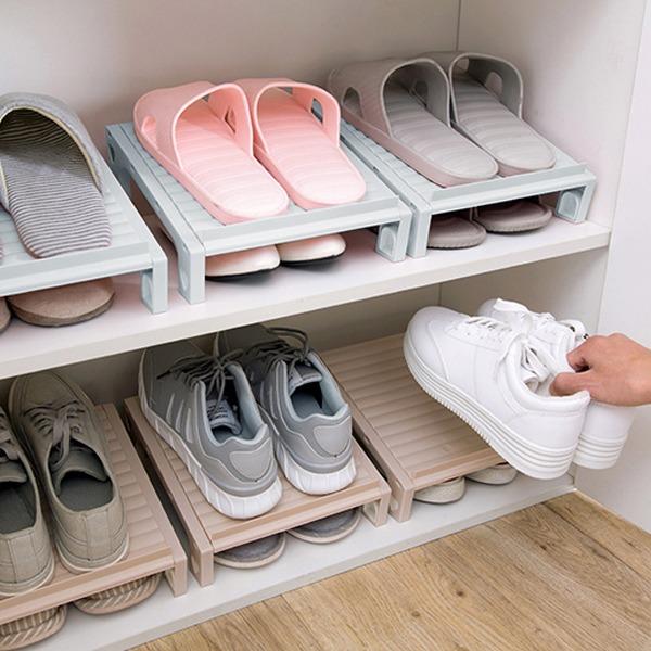 雙層鞋子收納架 PlayByPlay,玩生活,居家,鞋櫃,鞋子,雙層,省空間,伸縮,高度,調整,收納