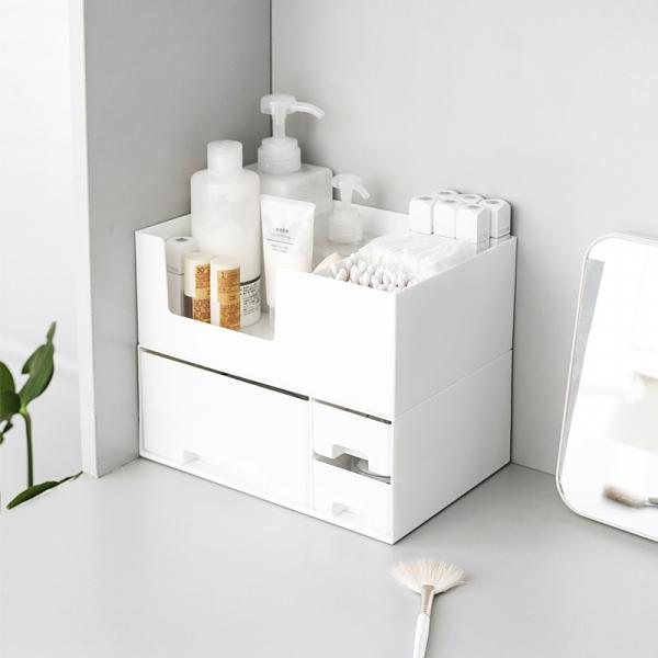 桌面化妝品收納盒 白色上層 開放式,收納,分格,PP,純白,極簡