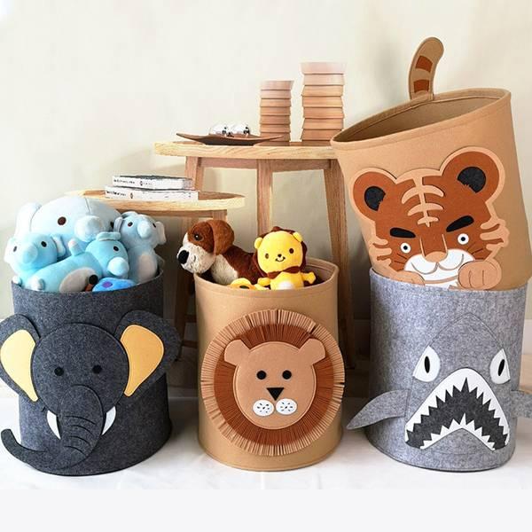 不織布動物收納桶 PlayByPlay,玩生活,居家,客廳,臥室,孩童,收納,置物,儲物,桶,籃,用品,雜物,玩具,玩偶,寓教於樂,童趣,卡通,動物,可愛,防水,防潮,耐用,耐磨
