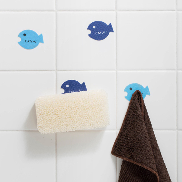 小魚兒牆面魔術貼 PlayByPlay,玩生活,居家,浴室,廚房,臥室,陽台,掛勾,收納,魔術貼,魔鬼氈,牆面粘,壁貼,毛巾,抹布,海綿,清潔用具