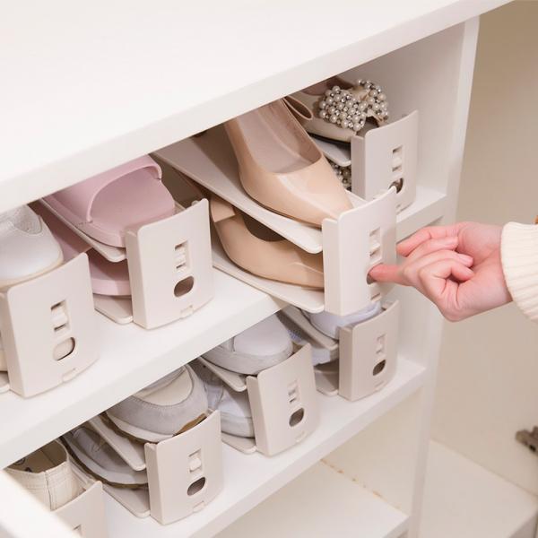 可調節雙層鞋架 PlayByPlay,玩生活,鞋櫃,空間,翻倍,節省空間,三層卡槽,高度可調,弧形增高設計,可拉式設計