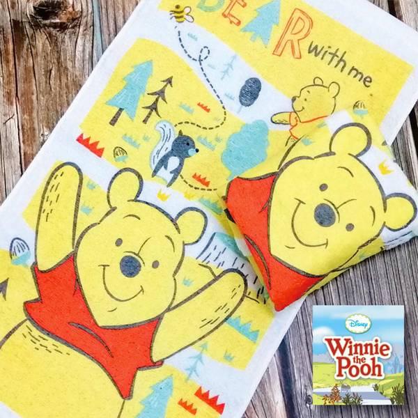 森林維尼洗臉巾 PlayByPlay,玩生活,居家,浴室,毛巾,手巾,洗臉巾,迪士尼,正版,小熊維尼,純棉,吸水,速乾,柔軟,親膚,舒適,嬰幼兒