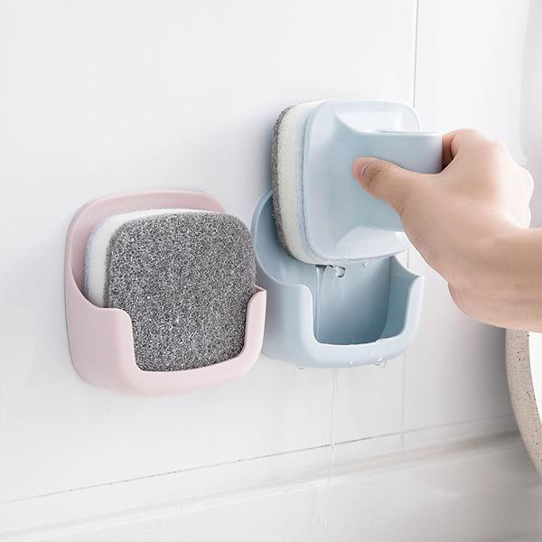 壁掛式海綿清潔刷 PlayByPlay,玩生活,居家,廚房,洗碗刷,清潔刷,海綿,壁掛式,瀝水,通風,舒適,順手,省力,可替換,衛生,乾淨,魔鬼氈,鍋子,碗盤,水槽,灶台