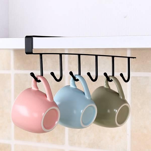 六連掛勾鐵架 廚房,臥室,櫥櫃,衣櫃,夾扣式,免釘免鑽,吊掛,杯子,用具,圍巾,領帶