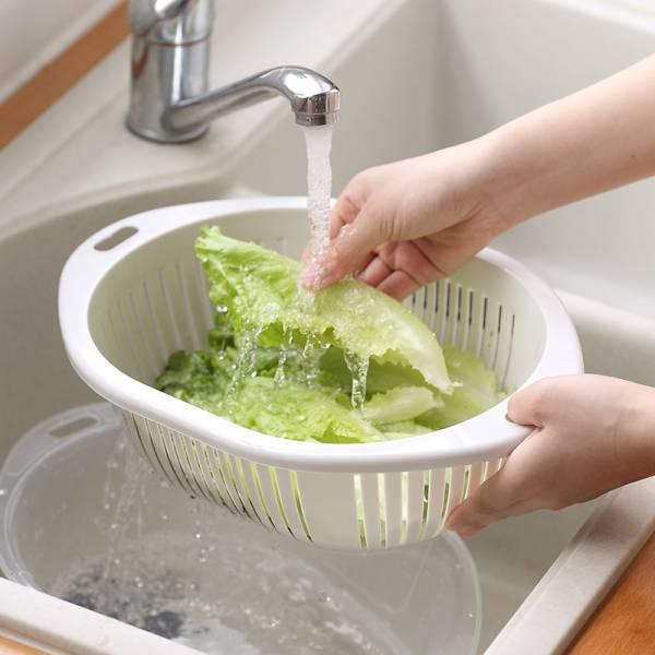 雙層瀝水籃 雙層,瀝水,籃,洗菜,塑膠,洗碗