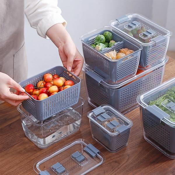 3in1蔬果保鮮盒 中號 PlayByPlay,玩生活,居家,廚房,冰箱,烹飪,備料,蔬菜,水果,保鮮,儲藏,冷藏,冷凍,收納,儲物,瀝水,清洗,浸泡,盒,籃,省空間,透氣,防塵,防蟲,防潮