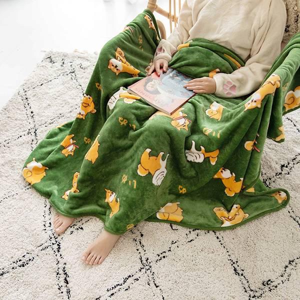 呆萌肥柴毛毯 PlayByPlay,玩生活,居家,毯子,沙發毯,被子,柴犬,柴柴,可愛,萌,療癒,法蘭絨,柔軟,溫和,舒適,保暖,不褪色