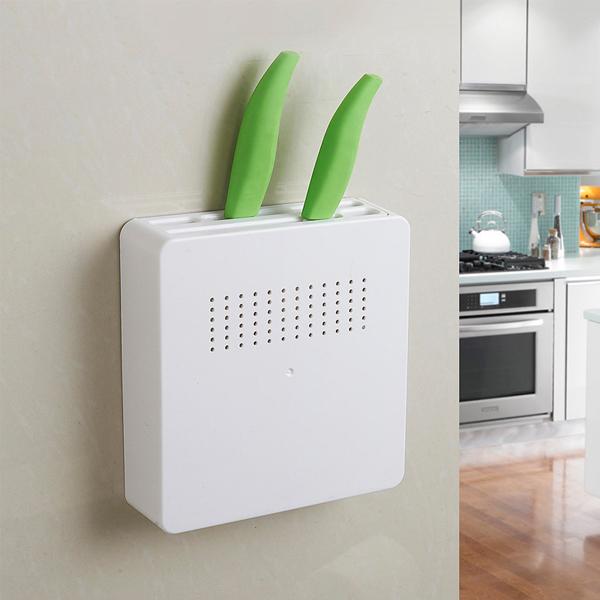 壁掛式菜刀架 PlayByPlay,玩生活,居家,廚房,牆面,櫥櫃,流理台,刀架,背膠,螺絲,兩種安裝方式,透氣孔,分隔收納,穩固不掉落,安全隱蔽