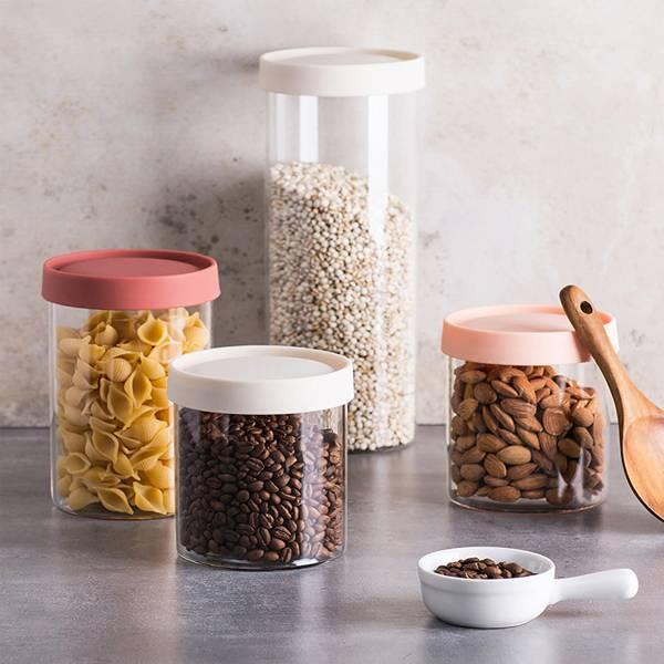 矽膠密封儲物罐 小號 PlayByPlay,玩生活,居家,廚房,櫥櫃,雜糧,乾貨,儲物罐,收納罐,矽膠蓋,玻璃,耐高溫,耐低溫,密封,防潮,防蟲,保鮮,可疊加,省空間