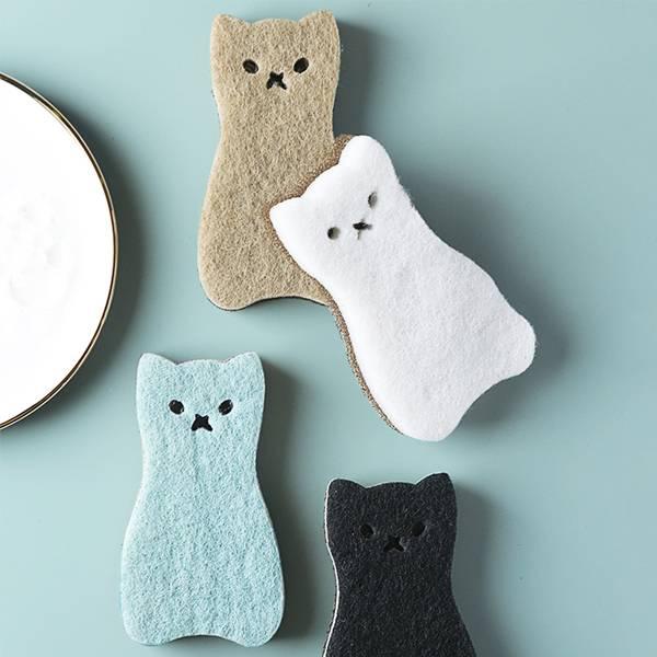 貓咪造型洗碗刷(4入) PlayByPlay,玩生活,居家,廚房,流理台,碗盤,鍋子,海綿刷,貓咪造型,可愛實用,清新配色,絲瓜絡,洗淨油汙,百潔布,刷除頑垢,不刮傷