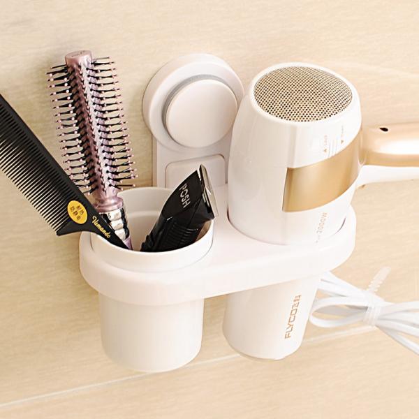 吸盤吹風機置物架 PlayByPlay,玩生活,吹風機,收納,梳子,一物二用,吹頭髮,梳頭髮,方便