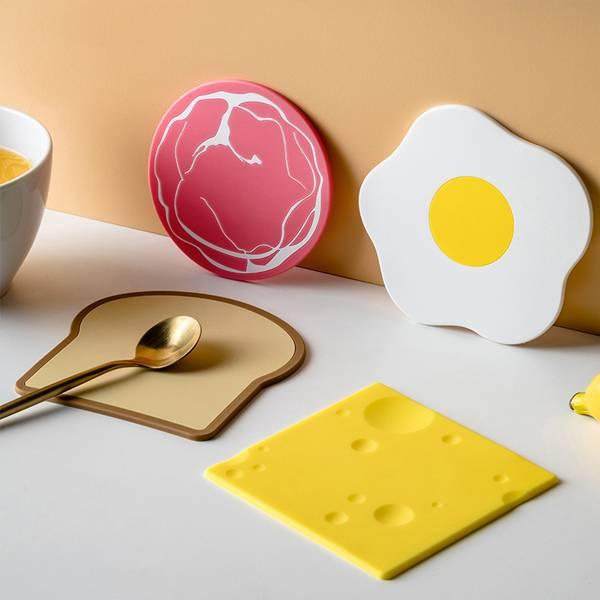 好元氣早餐隔熱墊 PlayByPlay,玩生活,居家,杯墊,隔熱墊,餐墊,碗盤墊,矽膠,早餐,美式,卡通風,幽默,趣味,耐高溫,隔熱,防燙,耐用