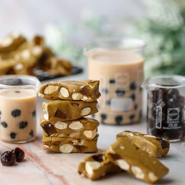 珍珠奶茶牛軋糖100g【原價140】 櫻桃爺爺,牛軋糖,手工,珍珠奶茶