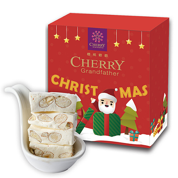 聖誕小盒-北海道杏仁牛軋糖100g【原價165】 櫻桃爺爺,牛軋糖,聖誕,交換禮物,草莓