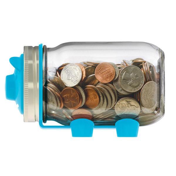 Jarware 梅森罐窄口小豬撲滿-藍色
