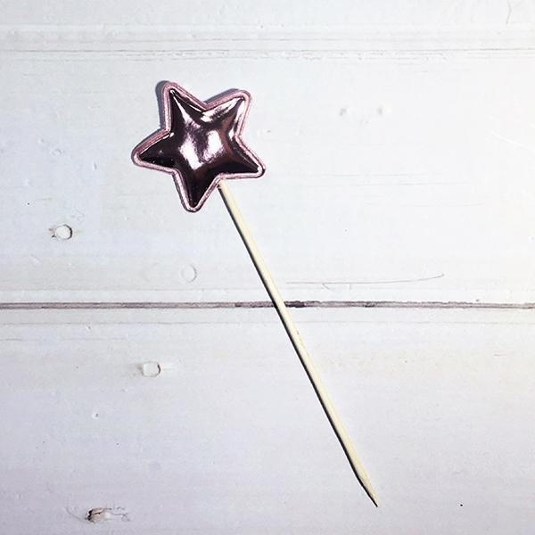 蛋糕配件-粉紅亮皮星星