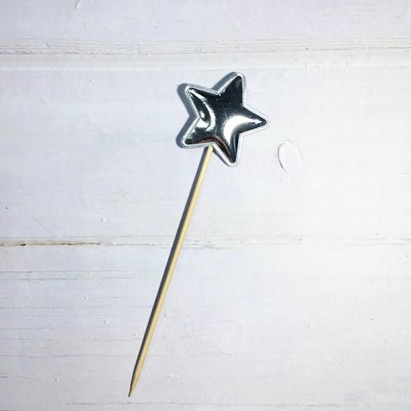 配件-E19-亮皮星星-銀色