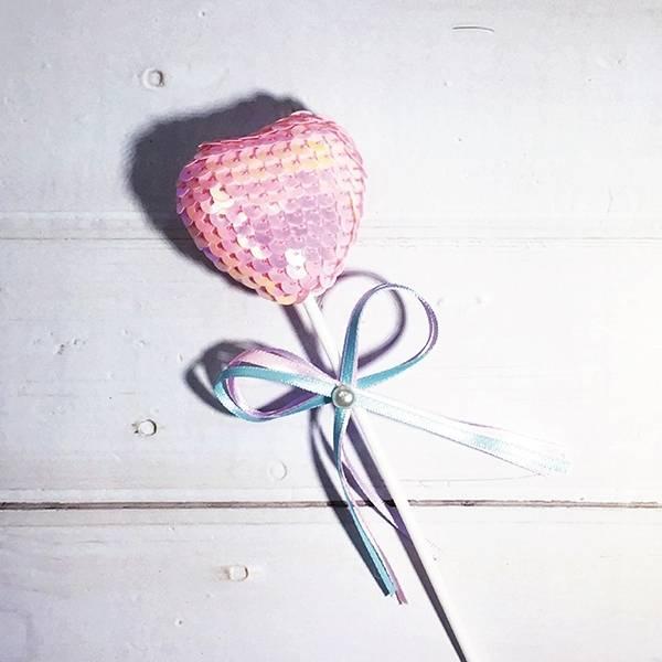蛋糕配件-粉紅亮片愛心