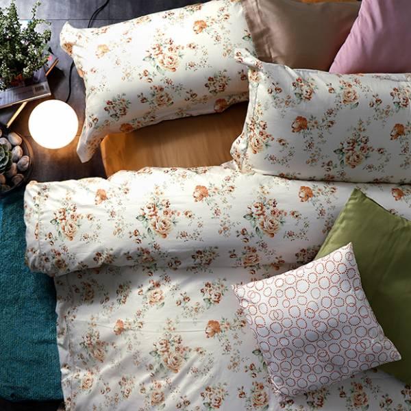 (QUEEN雙人加大)La Fatte新品 印花四件式床組-LAT03 英倫玫瑰 黃 雙⼈床包加大被單組