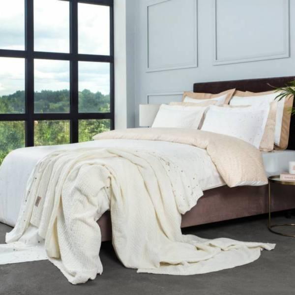 Cosmo Gold頂級原裝埃及棉緞織四件式床組(Queen床包+加大被套)