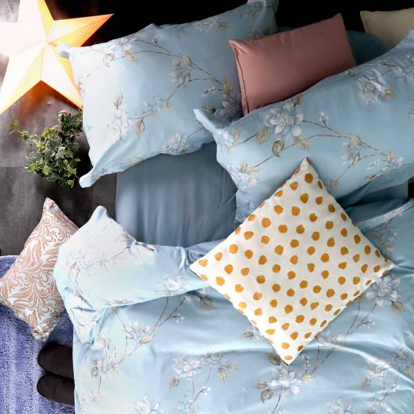 (QUEEN加大被套)La Fatte新品|印花四件式床組-LAT07 麗雅花園 雙⼈加大床包加大被單組8*7 ST 6*6.2*35