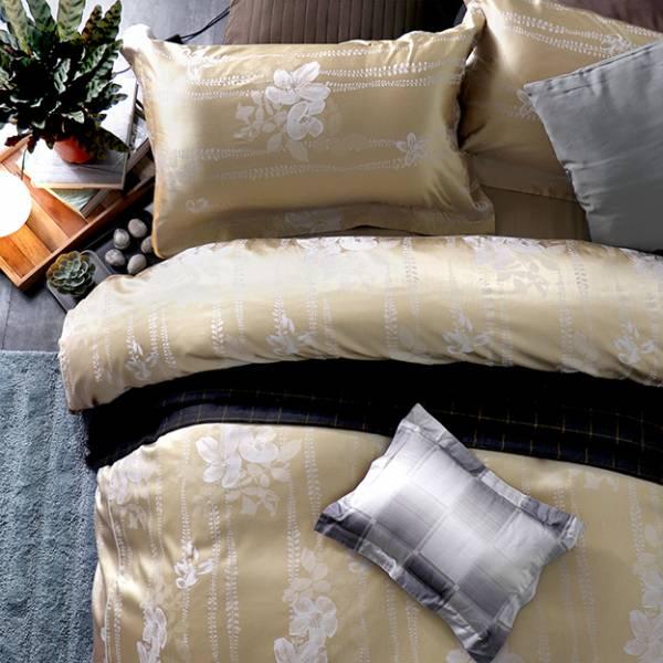 (QUEEN雙人加大)La Fatte新品 緹花四件式床組-LAT02 瑪麗安 ⾦ 雙⼈床包被單組