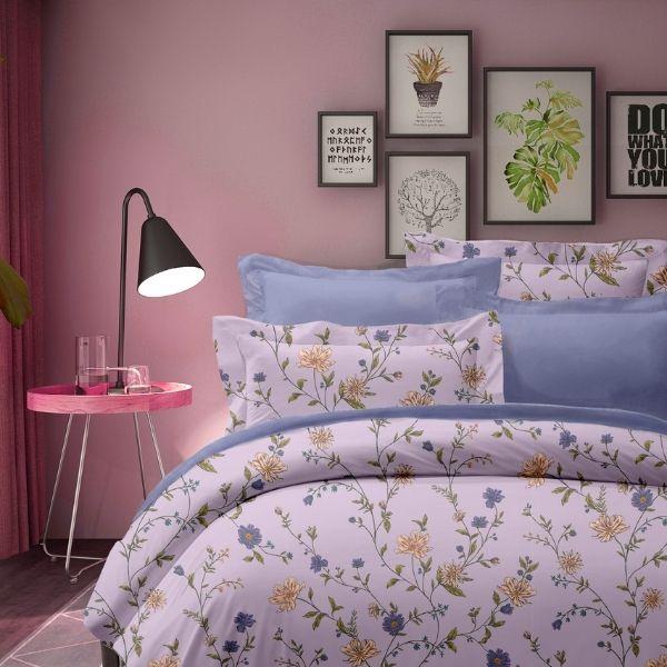 (標準雙人)La Fatte新品DC15 秋葉語|印花四件式床組 雙⼈床包兩用被單組