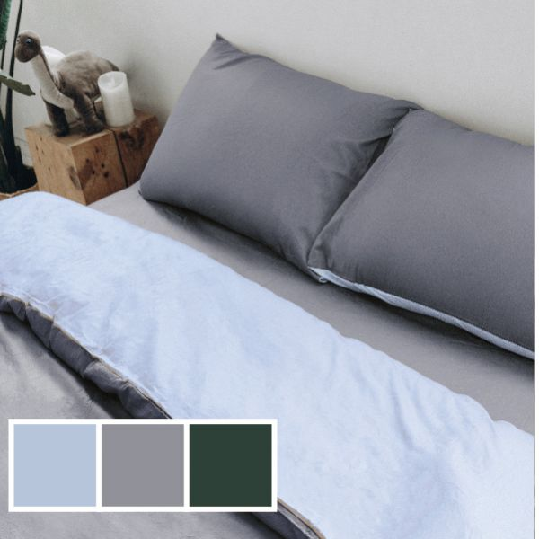 (標準雙人)COLOR 鐵灰藍 法蝶新品純色系列四件式床包被單組  5*6.2/6*7ST