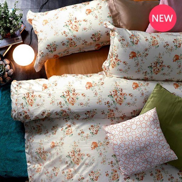 法蝶新品|6*7 ST 6*6.2*35 印花四件式床組-LAT03 英倫玫瑰 黃 雙⼈加大床包被單組