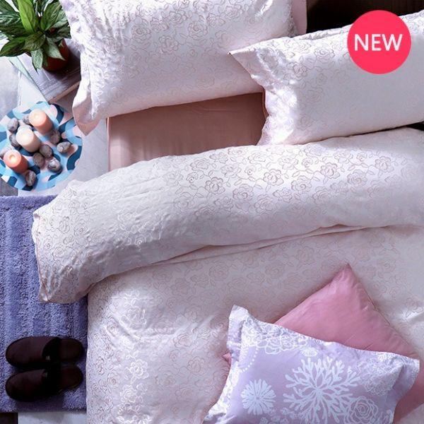 La Fatte新品| 8*7 ST 6*6.2*35 緹花四件式床組-LAT01 薔薇庭園(玫瑰粉) 雙⼈加⼤床包加大被單組
