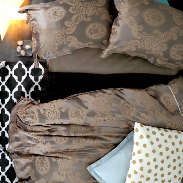 (特大雙人)La Fatte新品|緹花四件式床組-LAT16 大馬士革 橙棕 特大雙⼈床包被單四件組