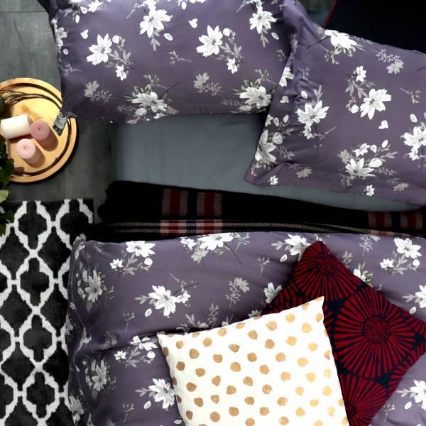 (標準雙人)La Fatte新品|印花四件式床組-LAT17  青韻 雙⼈床包5*6.2呎30cm被單組6*7呎