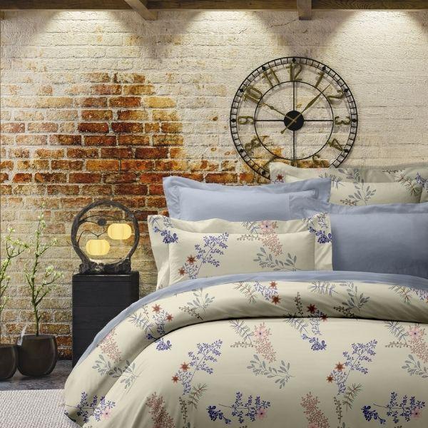 (QUENN加大雙人)La Fatte新品DC17 蒂爾|印花四件式床組 加大雙⼈床包兩用被單組