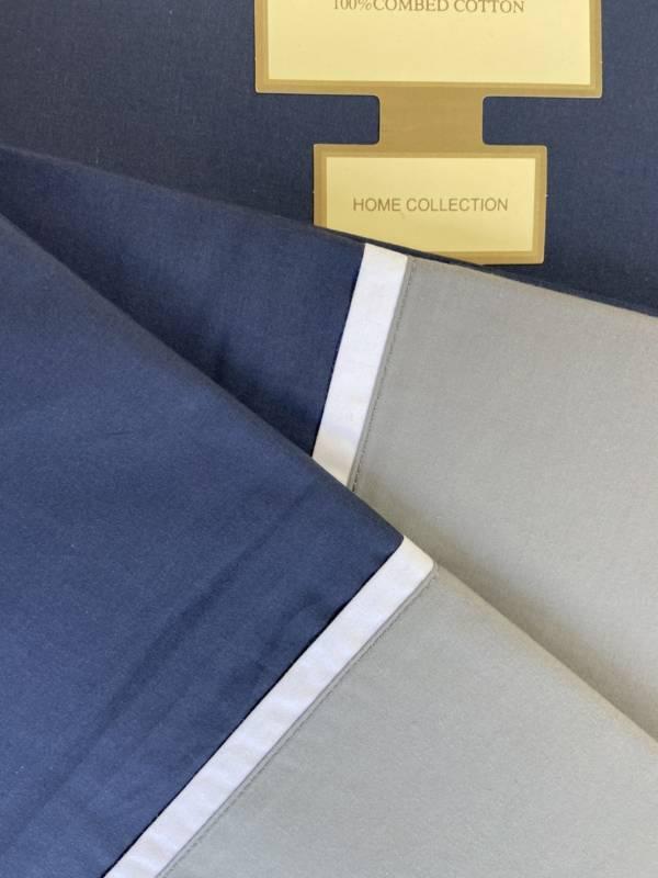 (福利品)白藍灰三件式/藍色平單270x300cm、藍灰白枕套x2