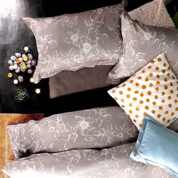 La Fatte新品  8*7 ST 6*6.2*35 印花四件式床組-LAT06 覓桐 雙⼈加大床包加大被單組