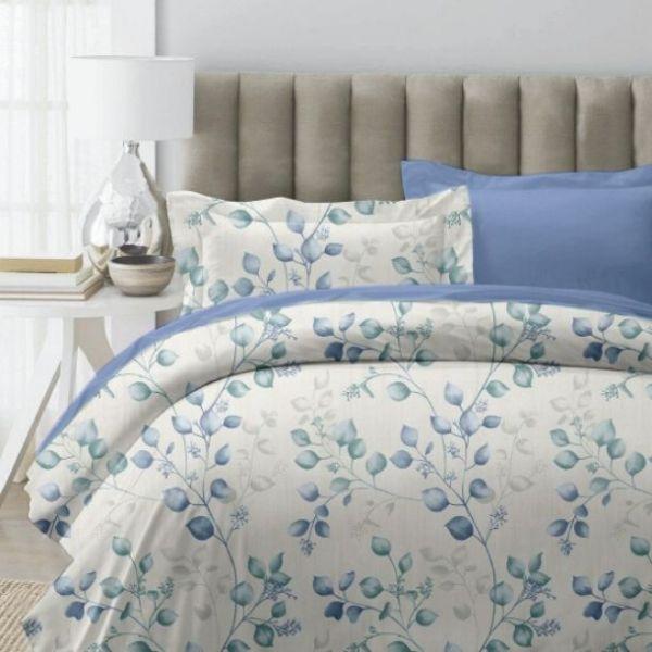 (標準雙人)La Fatte新品DC011 新葉曲|印花四件式床組 雙⼈床包兩用被單組