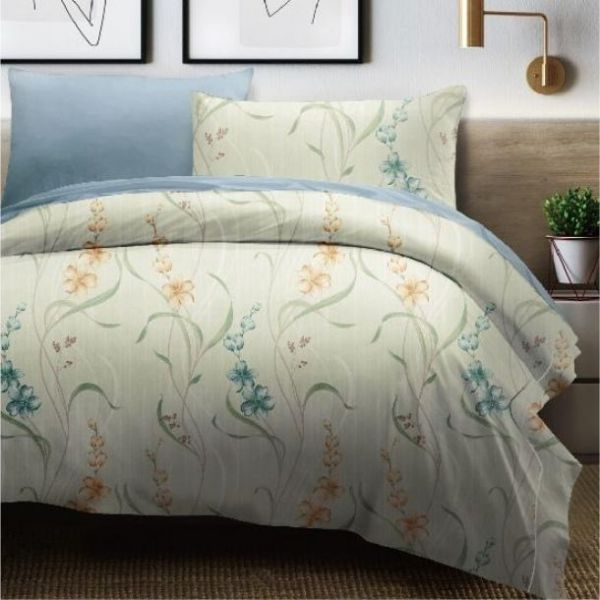 (Queen雙人加大+一般被套)La Fatte新品DC12 凱斯琳|印花四件式床組 雙⼈加大床包兩用被單組